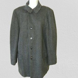 Vtg Gray Striped Wool Coat 46 Chest Red Plaid Line